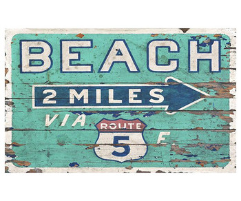 Custom Beach 2 Miles via Route 5 Vintage Style Metal Sign