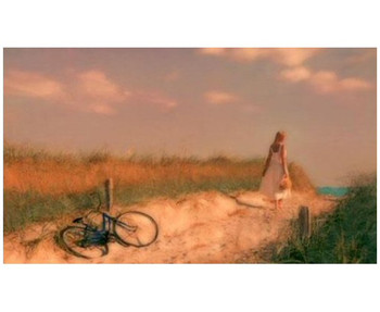 Custom Woman with Bike on Dune Vintage Style Metal Sign