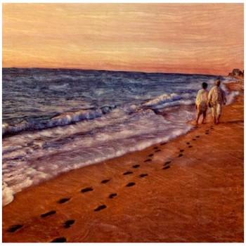 Custom Couple Walking on a Beach Vintage Style Metal Sign