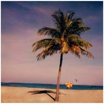 Custom Palm Tree & Umbrella on Beach Vintage Style Metal Sign