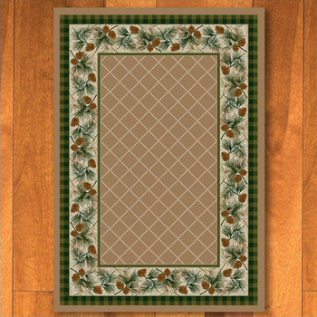5' x 8' Evergreen Sandstone Pinecones Nature Rectangle Rug