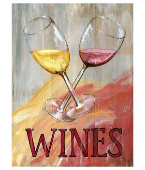 Custom Wine Glasses Vintage Style Metal Sign