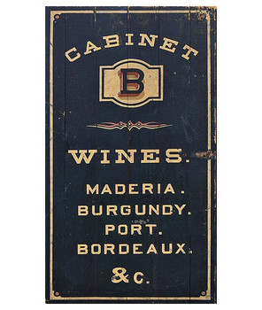 Custom Cabinet Wines Vintage Style Metal Sign