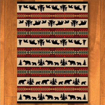 5' x 8' Bear Adventure Red Wildlife Rectangle Rug