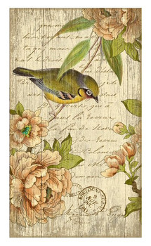 Left Bird with Flowers Vintage Style Metal Sign