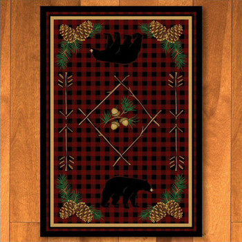 5' x 8' Deep Woods Bear Red Wildlife Rectangle Rug