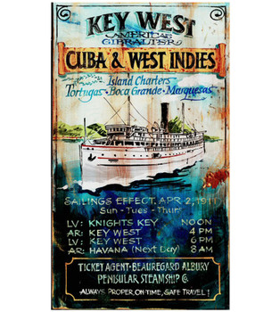 Custom Key West Island Charters Vintage Style Metal Sign