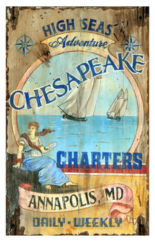 Custom Chesapeake Charters Vintage Style Metal Sign