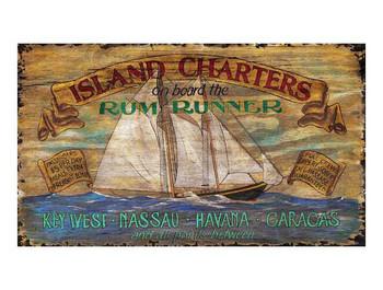 Custom Island Charters Vintage Style Metal Sign