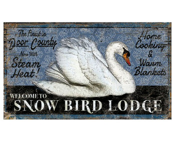 Custom Swan Snow Bird Lodge Vintage Style Metal Sign