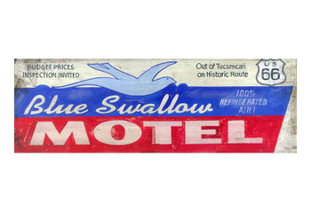 Custom Blue Swallow Motel Vintage Style Metal Sign