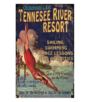 Custom Tennessee River Resort Vintage Style Metal Sign