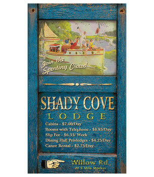 Custom Shady Cove Lodge Vintage Style Metal Sign