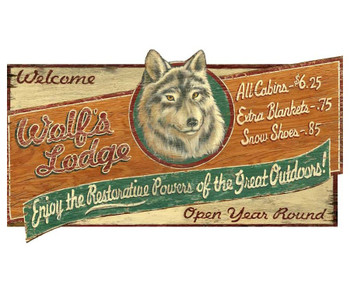 Custom Large Wolf Lodge Vintage Style Metal Sign