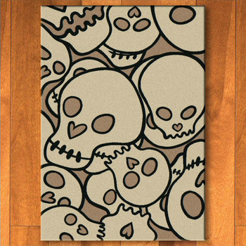 8' x 11' Head Banger Skulls Natural Rectangle Rug