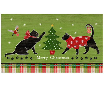 Custom Christmas Cats Vintage Style Metal Sign