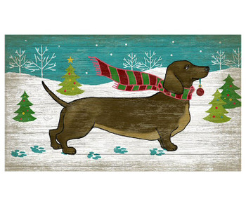 Christmas Dachshund Dog Vintage Style Metal Sign
