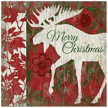 Merry Christmas Moose Vintage Style Metal Sign