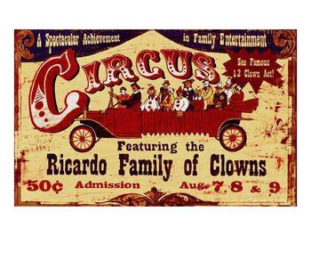 Custom Circus Ricardo Family of Clowns Vintage Style Metal Sign