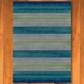 8' x 11' Bungalow Stripe Aqua Rectangle Rug
