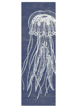 Jellyfish with Denim Background Vintage Style Metal Sign