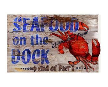 Custom Seafood On The Dock Vintage Style Metal Sign