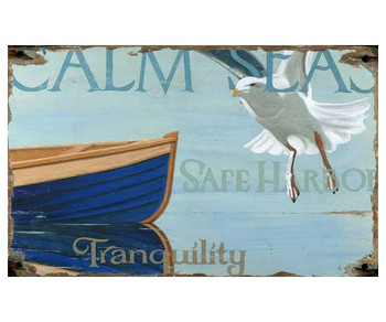 Custom Calm Seas Safe Harbor Vintage Style Metal Sign