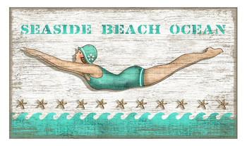 Custom Diving Girl Seaside Beach Vintage Style Metal Sign