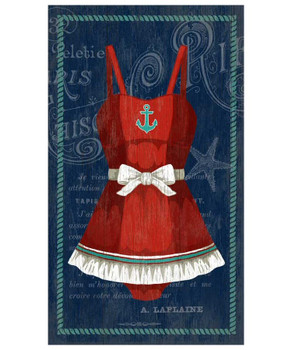 Old Fashioned Red & White Swimsuit Vintage Style Metal Sign