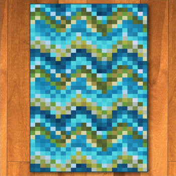 8' x 11' Abstract Spa Tiles Aqua Rectangle Rug