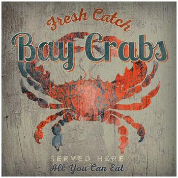 Custom Bay Crabs Served Here Vintage Style Metal Sign