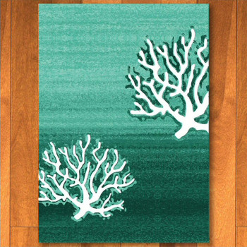 8' x 11' Coral Pattern Aqua Rectangle Rug