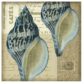 Indigo 3 Blue Seashells Vintage Style Metal Sign
