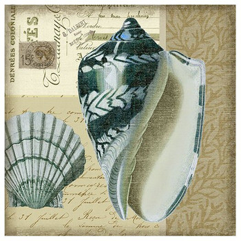 Indigo 4 Blue Seashells Vintage Style Metal Sign