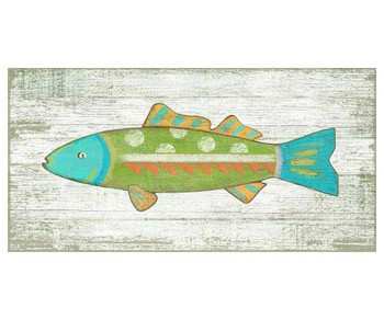Funky Green Fish Vintage Style Metal Sign