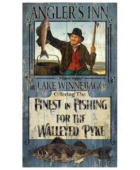 Custom Angler's Inn Fishing for Walleye Vintage Style Metal Sign