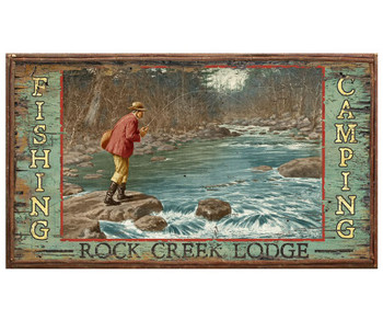 Custom Rock Creek Lodge Fishing Vintage Style Metal Sign