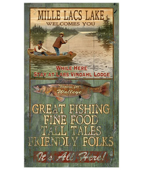 Custom Mille Lacs Lake Walleye Fishing Vintage Style Metal Sign
