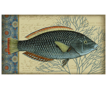 Blue Indigo Fish Facing Right Vintage Style Metal Sign