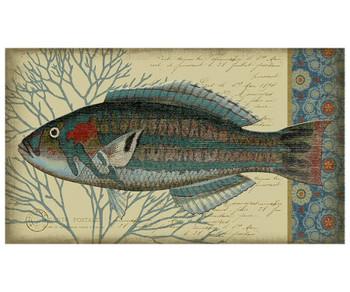 Blue Indigo Fish Facing Left Vintage Style Metal Sign