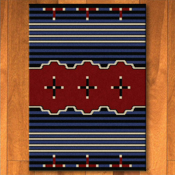 8' x 11' Big Chief 2 Blue Southwest Rectangle Rug