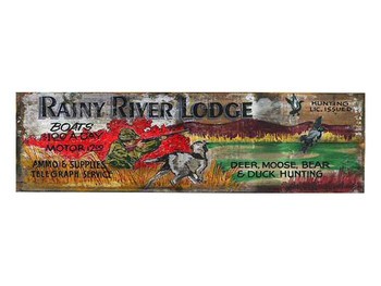 Custom Rainy River Lodge Vintage Style Metal Sign