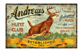 Custom Hunt Club Vintage Style Metal Sign