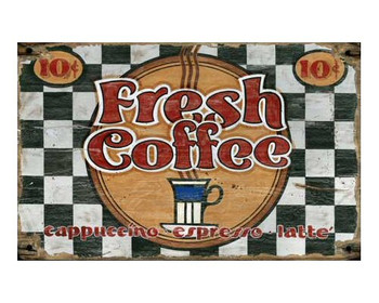 Custom Fresh Coffee Vintage Style Metal Sign