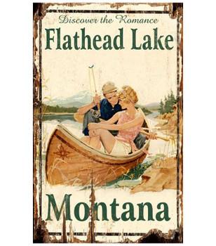 Custom Flathead Lake Montana Vintage Style Metal Sign