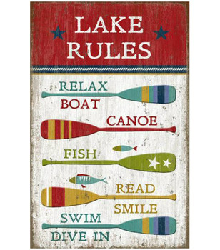 Custom Lake Rules with Oars Vintage Style Metal Sign