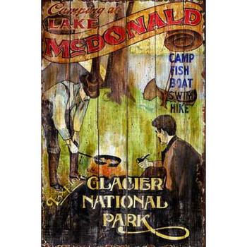 Custom Camping at Lake McDonald Vintage Style Metal Sign