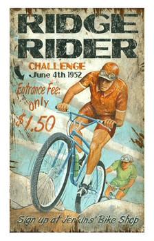 Custom Mountain Bike Ridge Rider Vintage Style Metal Sign