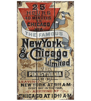 Custom New York & Chicago Railway Vintage Style Metal Sign