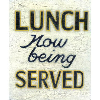 Custom Lunch Now Being Served Vintage Style Metal Sign